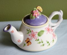 Small Teapot with Lid. Pottery Tea Brewing Pot.  Hand Painted Personal Teapot. Folk Style Dish.