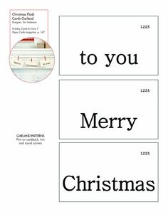 Christmas Flash Cards Garland #free pattern/template #downloadable
