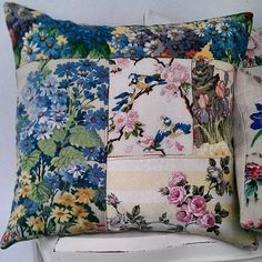 Very dusty in our cottage at the moment...The old bath has been removed, wall demolished and  floorboards removed for the new plumbing...All quiet until Monday now though. I hid in my garden studio for a while, making a cushion...until I got too cold...Wishing you a happy weekend. #bluetits #handmadecushion #vintagefabrics #handembroidery #Sanderson