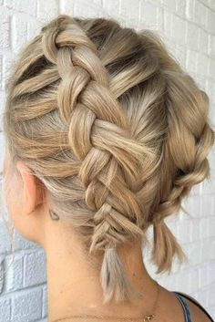 Braided Hairstyles For Short Hair Blonde Messy Layered Dutch Style