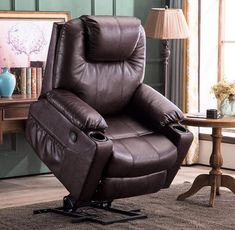 Mcombo Electric Power Lift Recliner Chair Sofa with Massage and Heat for Elderly, 3 Positions, 2 Side Pockets and Cup Holders, USB Ports, Faux Leather 7040 (Medium, Dark Brown) Diy Chair, Sofa Chair, Modern Recliner, Lift Recliners, Tall People, Faux Leather Fabric, Reclining Sofa, Chairs For Sale, Chair Pads