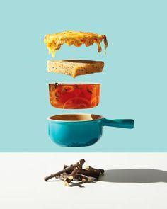 """Der Kanadier Michael Chrichton und die Stylistin Leigh MacMillan lassen für ihre Serie """"Conceptual Food"""" Gerichte in die Luft gehen."""