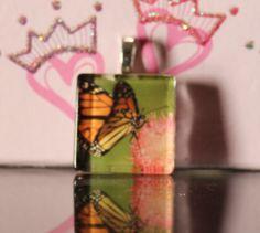 Butterfly glass tile pendant
