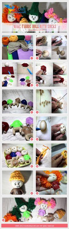 make fabric doll with socks