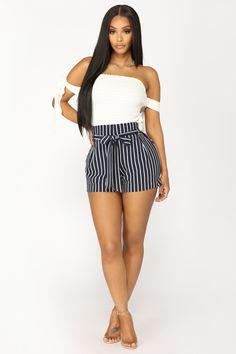 Layla Stripe Shorts - Navy