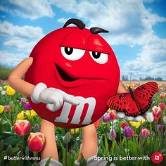 Red M & M with red butterfly M&m Mars, Funny Toons, Candy Pictures, Candy Images, Mars Chocolate, Peanut M&ms, M&m Characters, M Wallpaper, House Of M