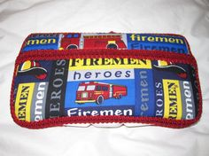 Wipe Case Firefighter Fabric Covered Baby by HushabyeMtnBoutique, $23.00
