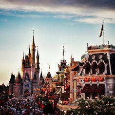 A beautiful evening at Disney's Main Street USA (Disneyland and Disney World)