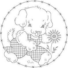 Pattern Detail | Happy Puppy with Flower | Needlecrafter