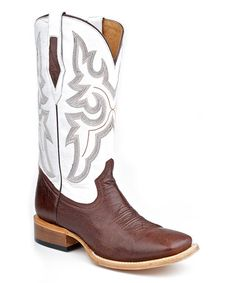 Take a look at this Brown & White Exotic Smooth Ostrich Square Toe Cowboy Boot - Men by Roper on #zulily today!