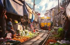The Maeklong Market in Bangkok has stalls right along the railway tracks. (Don't worry the train doesn't run anymore!)