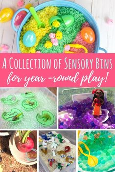 This collection of sensory bins for kids includes content to be used year round or seasonally for early learning at home or in the classroom.