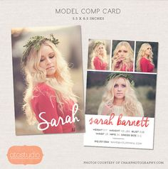 Model Comp Card Photoshop Template Watercolor Chic Cm001 Etsy Model Comp Card Card Templates Free Card Template