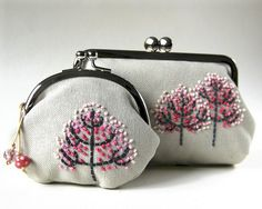 """Trees"" pink pouch set"