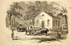 1861 Wood Engraving Sudley Church Hospital Manassas Bull Run U.S. Civil War NYN1