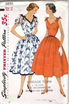 Simplicity 3890 1950s Sewing Pattern V Neck Sun by retromonkeys