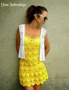 Vestido de Crochet Amarelo