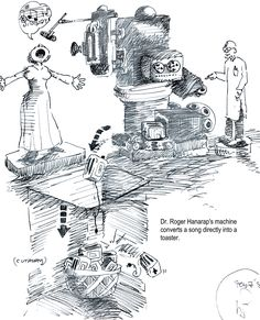Roger Hanarap's machine converts a song directly into a toaster. Toaster, Bob, The Originals, Drawings, Bucket Hat, Toasters, Drawing, Bobs, Portrait