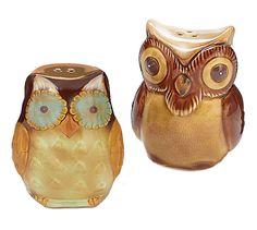 Porcelain Owls Salt & Pepper Shakers burton+BURTON New!