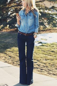 blue jeans + light blue jeans = too cool #Classic