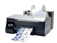 Vipcolor Vp485 Color Label Printer for Printing Product Labels. Print Technology: HP Dye Inkjet Printing. Pritn Speed: Up to 5 inches per second. Print Quality: Up to 1200 x 1200 dpi. Ink Cartridges : 4 Separate Pigment Inks -Cyan, Magenta, Yellow and Black. Interfaces: USB2 & 10/100 Ethernet + Label Unwinder Included.