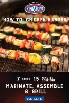 Chicken Kabob Recipes, Chicken Kabobs, Marinated Chicken, Grilling Recipes, Cooking Recipes, Healthy Recipes, Pasta Recipes, Chicken And Vegetables, Fresh Vegetables