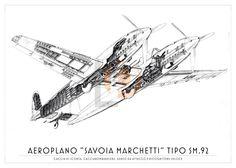 Aeroplano S.I.A.I. Marchetti SM.92-Cod. SM92-70x50 CUTAWAY