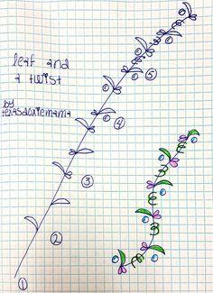 Leaf & Twist tangle pattern by texasdoxiemama Tangle Doodle, Tangle Art, Zen Doodle, Doodle Art, Zentangle Drawings, Doodles Zentangles, Doodle Drawings, Doodle Designs, Doodle Patterns
