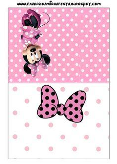 Ideas y material gratis para fiestas y celebraciones Oh My Fiesta!: Tarjetas para imprimir gratis de Minnie Mouse en rosa, blanco y negro.