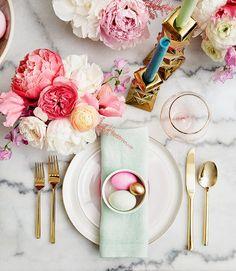 Modern and  pastel Easter table setting via Emily Henderson