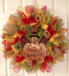 Turkey curly decomesh wreath by CreativeTwists1 on Etsy
