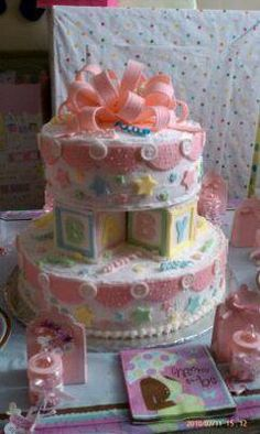Baby Blocks Cake:  This cute baby blocks cake is full of creative details. You would never know by looking at it that this was Grace's first cake decorating project. I am