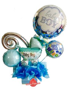 Baby Boy Balloons, Mothers Day Balloons, Baby Shower Balloons, Mesas Para Baby Shower, Baby Baskets, Balloon Bouquet, Babyshower, Christmas Bulbs, Holiday Decor