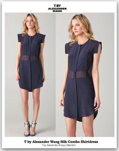 T by Alexander Wang Silk Combo Shirt Dress