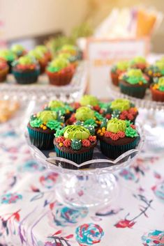 Check out the cupcakes at this colorful cactus boho brunch birthday party! See more party ideas and share yours at CatchMyParty.com #catchmyparty #partyideas #cactusparty #bohoparty #girlbirthdayparty #cactuscupcakes