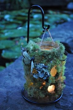 Hanging woodland Fairy luminaries with moss, lichens & butterflies   This is a wonderful project for the Summer  you need a  Mason Jar Moss & Lichen  found at floral shops or craft stores  Twine to hang it   glue  Seashells / sea glass small shiny beads ( Optional ) Flowers ( Optional )  LED battery operated candle ( for safety reasons )  Butterflies / Dragonflies found at floral shops or you can Create Dragonflies using maple seeds and twigs ~