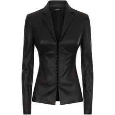 La Perla Leather Black Lambskin Leather Corset Jacket With Built-In... ($3,365) ❤ liked on Polyvore featuring outerwear, jackets, intimates, tailored jacket, slim jacket, spiked leather jacket, long leather jacket and lambskin leather jackets