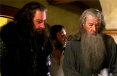 """(Gif set)  'I was also a mad fan of The Lord of the Rings trilogy and watched the films over and over. I secretly wish I had been in them - in fact, not so secretly! The first time I was on set looking into the eyes of Ian McKellen, I was desperately trying to stay in character while something inside me kept saying, """"That's Gandalf!""""'   Richard Armitage"""