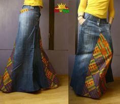 Jupe Longue Denim & Kente Orange et bleu coton imprimé par HATaFAYA