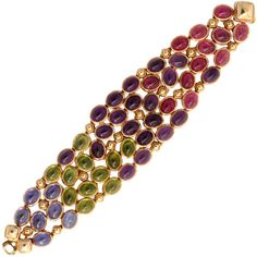 Rene Boivin - Rene Boivin Multi-gem Gold Bracelet - Primavera Gallery NY found on Polyvore