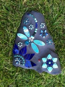 If you find chance, look out for cool dragonfly rock designs, ive got an order for a dragonfly painted rock xoxo Dragonfly Rocks by Carol Deutsch Mosaic Garden Art, Mosaic Art, Mosaic Glass, Mosaic Tiles, Glass Art, Stained Glass, Mosaic Rocks, Mosaic Stepping Stones, Rock Mosaic