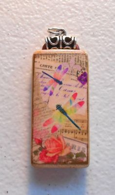 Handcrafted Dragonfly Altered Art Bamboo by AlteredTileDesigns