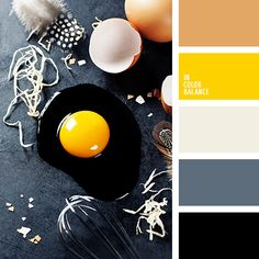 "If you add a bright spot to the classical range, such a combination will inevitably ""ignite"" the whole palette. In this case yellow color plays the role of Black Color Palette, Orange Color Palettes, Colour Pallette, Colour Schemes, Color Combos, Yellow Accents, Gray Yellow, Bright Yellow, Color Yellow"