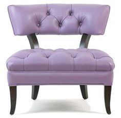 Tufted lavender leather chair.
