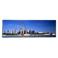 """East Urban Home Panoramic Skyline Gateway Arch St. Louis MO Photographic Print on Canvas Size: 20"""" H x 60"""" W x 0.75"""" D"""
