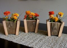 Set of 3 Rustic Barn Wood Flower Pots. $39.00, via Etsy.