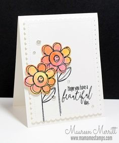 Featuring high quality photopolymer clear stamps and supplies for crafting. Flower Stamp, Flower Cards, Card Tags, I Card, Birthday Cards For Women, Flower Doodles, Watercolor Cards, Watercolour, Cards For Friends