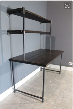 Salvaged Scorched Wood Computer Desk Finish w/ 2 Shelves - Shelves Attach to Wall - Gas Pipe For Legs And Shelving - FAST Shipping Wood Computer Desk, Wood Desk, Pipe Furniture, Industrial Furniture, Industrial Desk, Rustic Industrial, Diy Home Decor Rustic, Wood Table Bases, Pipe Desk