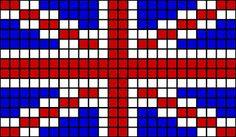 Pixelated union jack crochet blanket