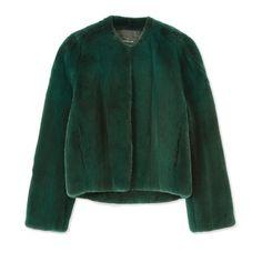 Derek Lam Green Fur Jacket
